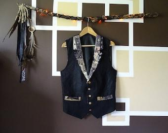 Black Gothic Linen Waistcoat