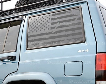 XJ Window Flags DRIVER SIDE Skull Daddy Graphics XJ Window Flags to fit Jeep Cherokee 1987-2001