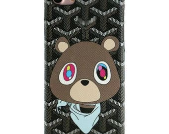 Luxury French Paris Goyard Bear Black Green Cartoon Case Cover For iPhone X 8 Plus 7 7 Plus 6 Plus 6S Fundas