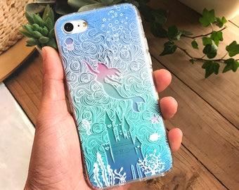 Cute Little Mermaid Fish Castle Flower Alice in Wonderland Rose Relief Cartoon Disney Transparent Case Cover iPhone X 8 7 plus 6 6S plus 5