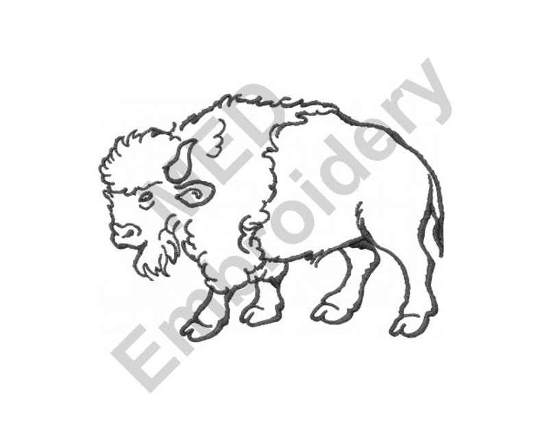 Buffalo Outline Machine Embroidery Design Embroidery