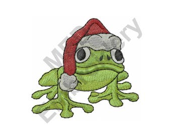 Frog - Machine Embroidery Design, Christmas Frog