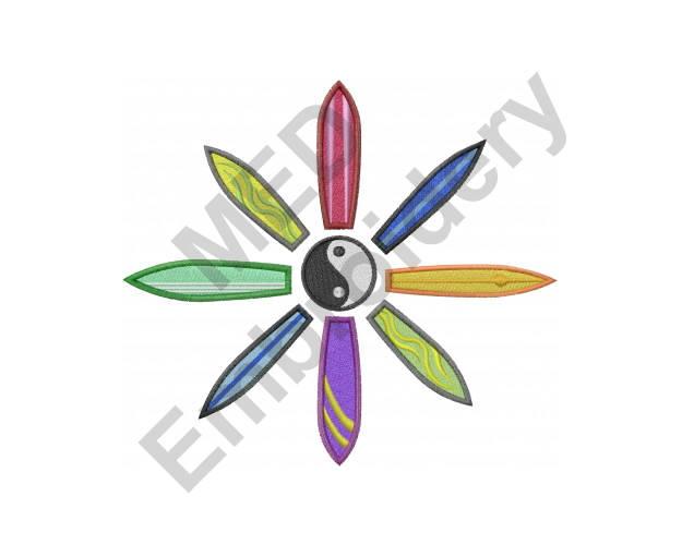 Surfboard Flower Machine Embroidery Design Yin Yang Etsy