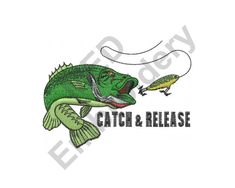 Fishing - Machine Embroidery Design, Catch And Release, Bass Fish And Lure,  Machine Embroidery, Embroidery Designs, Embroidery Patterns