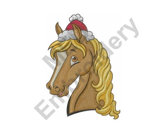 Pferd Maschine Stickerei Design Weihnachten Sankt-Hut | Etsy