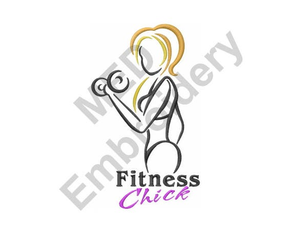 Fitness Chick Machine Embroidery Design Fitness Chick Etsy