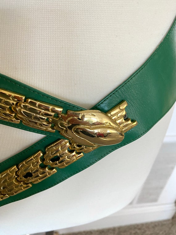 Vintage 1980s green and gold snake leather belt /… - image 5