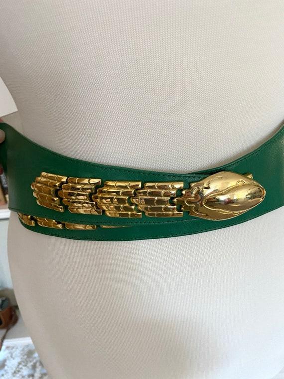 Vintage 1980s green and gold snake leather belt /… - image 8