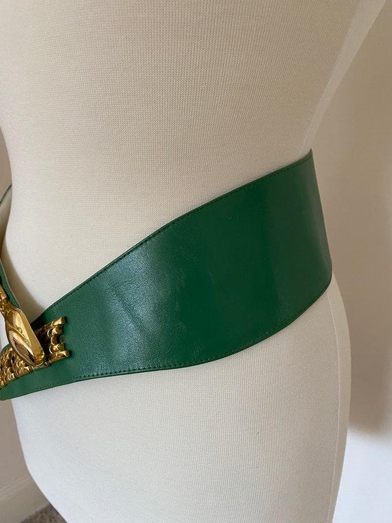 Vintage 1980s green and gold snake leather belt /… - image 3