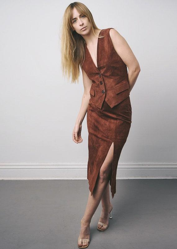 Vintage 1970s suede skirt and vest set