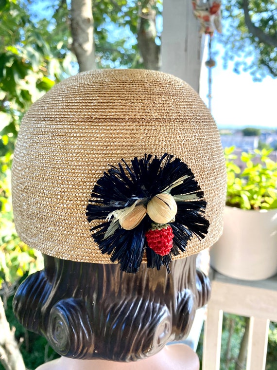 Vintage Patricia Underwood designer straw hat / S… - image 1
