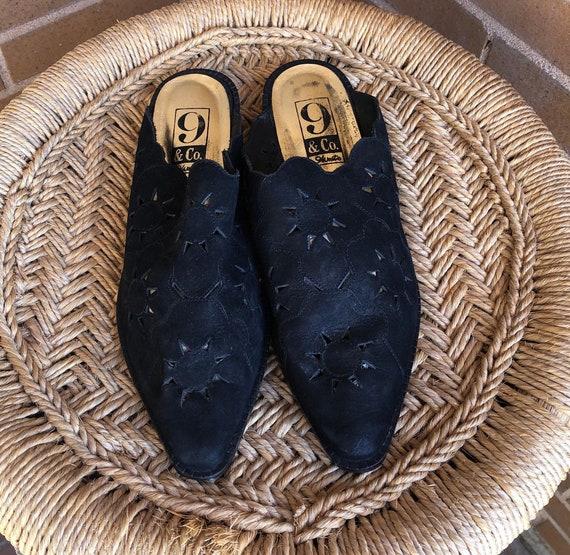 Vintage 90s Black Suede mules / western slip on sh