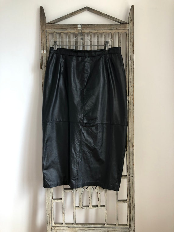 1980s Vintage plus size Black Leather Midi  Skirt,
