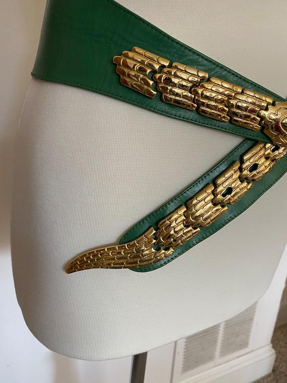 Vintage 1980s green and gold snake leather belt /… - image 4