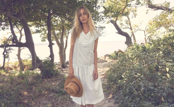 vintage 1970s drop waist white cotton boho dress /