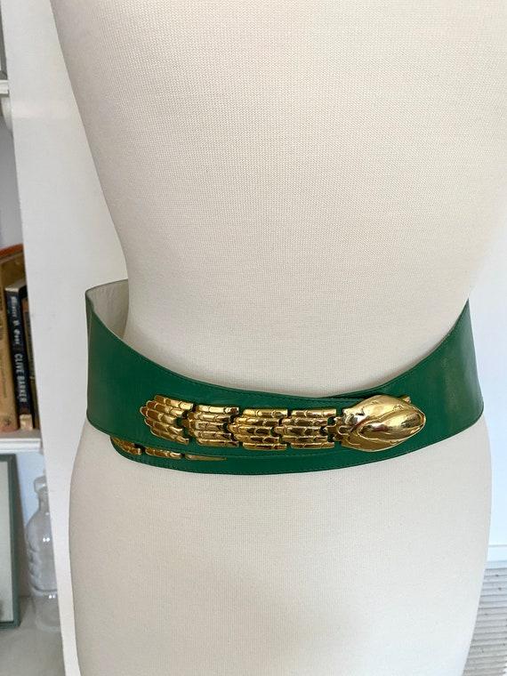 Vintage 1980s green and gold snake leather belt /… - image 9