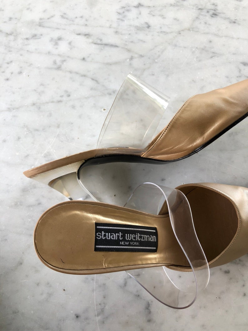 Vintage women s Stuart Weitzman mules with lucite heel and
