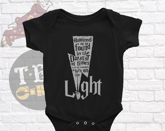 Harry Potter Inspired Baby Onesie,  Happiness Can Be Found Even In The Darkest Of Times, Harry Potter Quote, Dumbledore Quote, Potter Baby