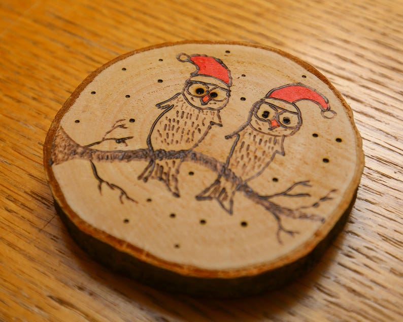two owls tree decoration / coaster image 0