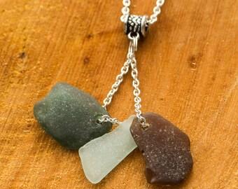 multi colour seaglass pendant