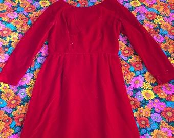 Vintage Red Velvet Long Sleeve Bombshell Pinup Wiggle Sheath Dress 50s