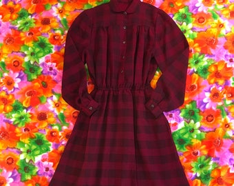Vintage Red and Black Semi Sheer Plaid Checkered Peter Pan Collar Long Sleeve Western Style Snap Up Midi Dress With Pockets