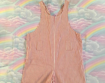 Vintage Red and Off White Striped Ticking Shorts Romper One Piece Candy Striper Overalls