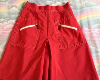 Vintage Red With White Zippers and Contrast Stitching Shorts Koret of California 1960s Mod Retro Skort