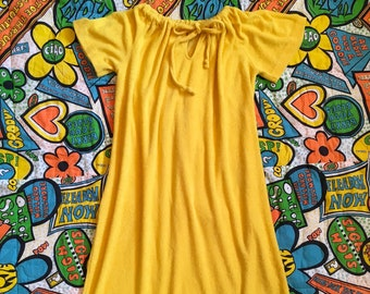 036c434c83 Vintage Bright Sunshine Yellow Terry Cloth Flutter Sleeve Dress With  Drawstring Neckline Mis Tique Of California Swim Cover Up 1960s 1970s