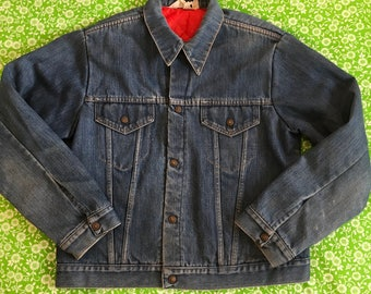 ccbccbdc56f Vintage JCPenney 1970s Denim Red Quilted Nylon Lined Jacket Coat Mens Retro  Jean Work Snaps Distressed Union Made