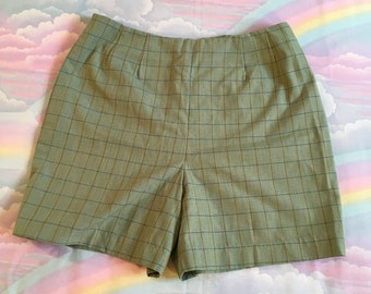 Vintage Green and Blue Plaid Checkered Pinup Shorts With Back Zipper