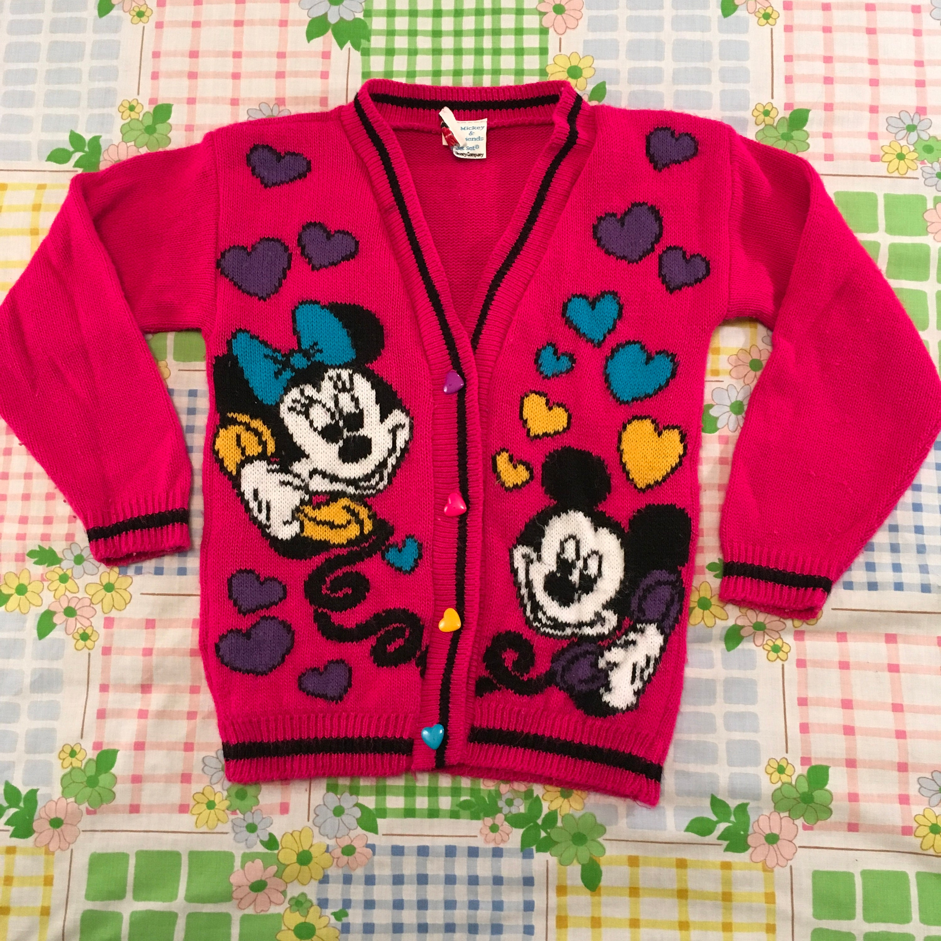88ef59f94704a Vintage Kid Mickey Mouse Minnie Mouse Disney Hot Pink Cardigan | Etsy