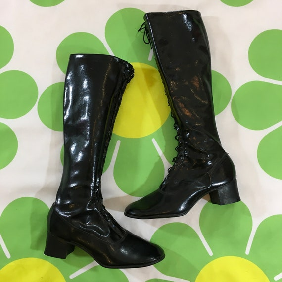Vintage Authentic Black Patent Leather Knee High M
