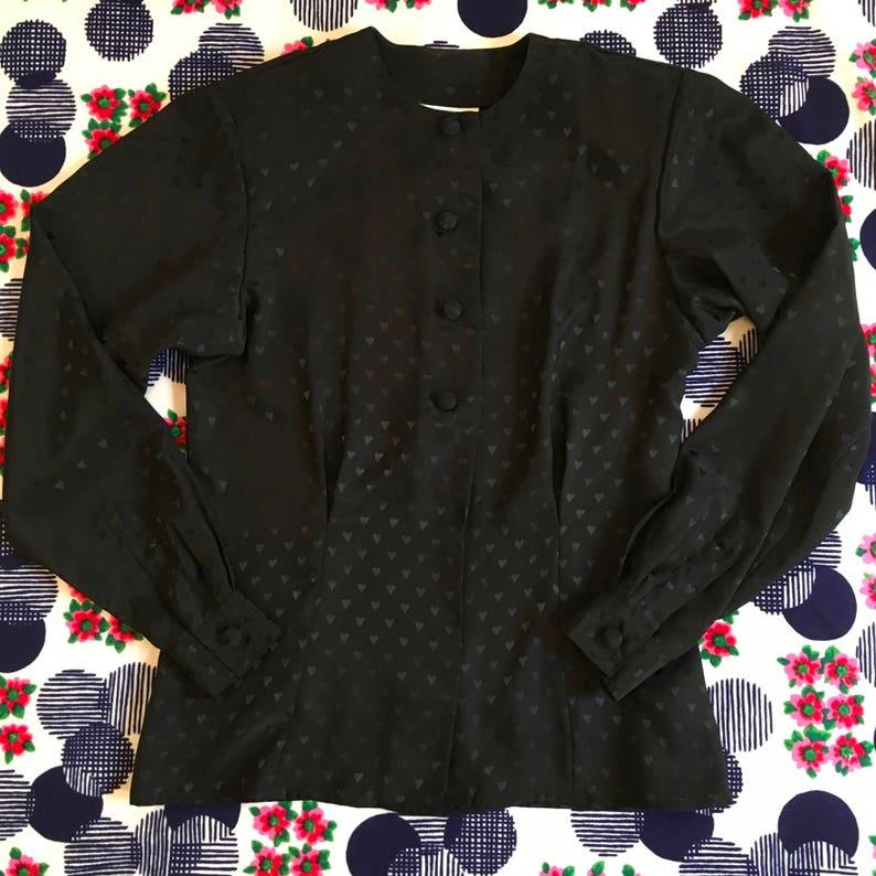 Vintage Black on Black Monochromatic Heart Print Silk Satin Evan-Picone Shirt Blouse Hearts 70s 80s