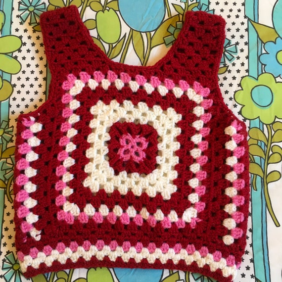 Vintage Granny Square Knit Sweater Vest Burgundy 1