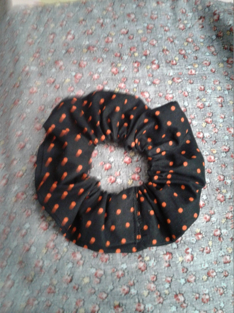 Halloween themed hair accessories. Set of two hair scrunchies for Fall