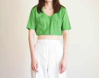 788965006ee3c0 Vintage 1950s Green Crop Top / 50s Cotton Crop Top / Woven Cotton Crop Top  / Green Summer Top / Small Top