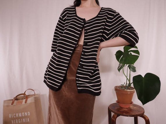 Knitted Black and White Striped Cardigan | Cotton