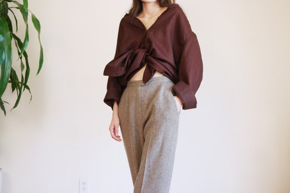 Gray Brown Wool Trouser / 80s Wool Pants / Vintage