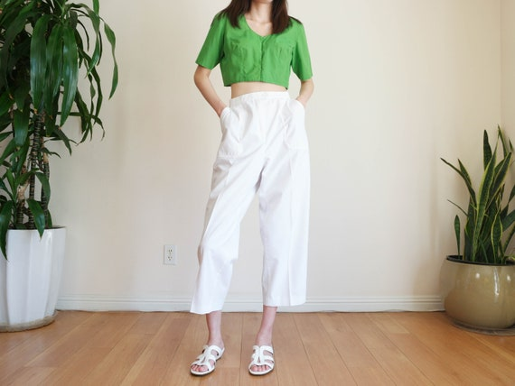White High Waisted Pants / Hi Rise Lounge Pants /