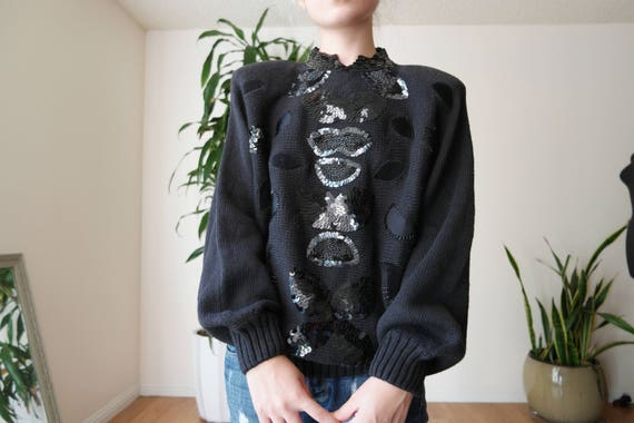black sequin sweater / 80s sequin sweater / vintag