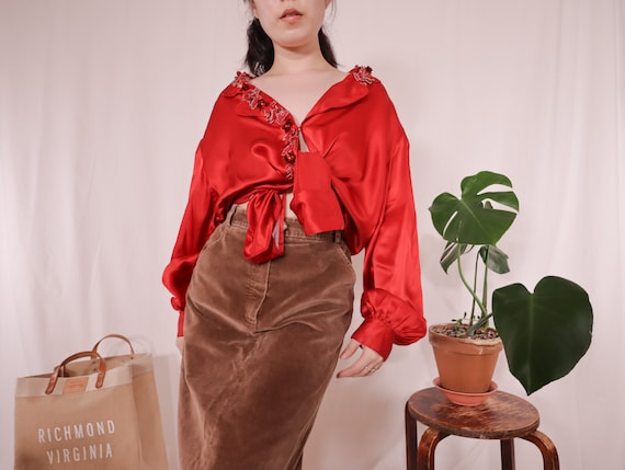 Red Silk Blouse | Embroidered Lapel Silk Blouse |