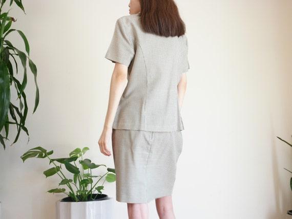 Khaki Houndstooth Skirt Suit Set / Linen Blend Sk… - image 6