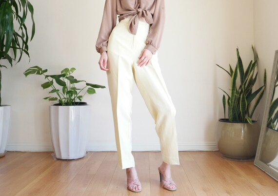 Cream Silk Trouser / Vintage High Waisted Silk Tro
