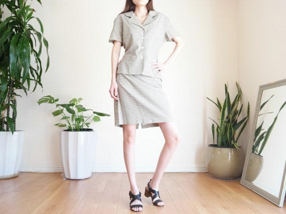 Khaki Houndstooth Skirt Suit Set / Linen Blend Sk… - image 5