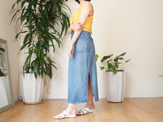Denim Midi Skirt / Casual Denim Skirt / Side Slit