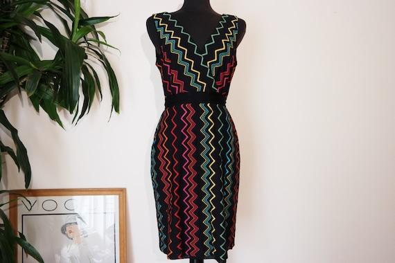 90's Rainbow Zig Zag Pattern Dress / Retro Funky P