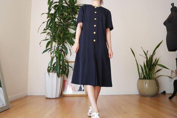 Navy Button Up Midi Dress / Vintage Pleated Midi D