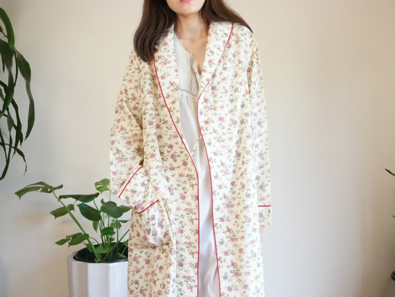 Cotton Blend Bath Robe / 70s Cotton Blend Printed