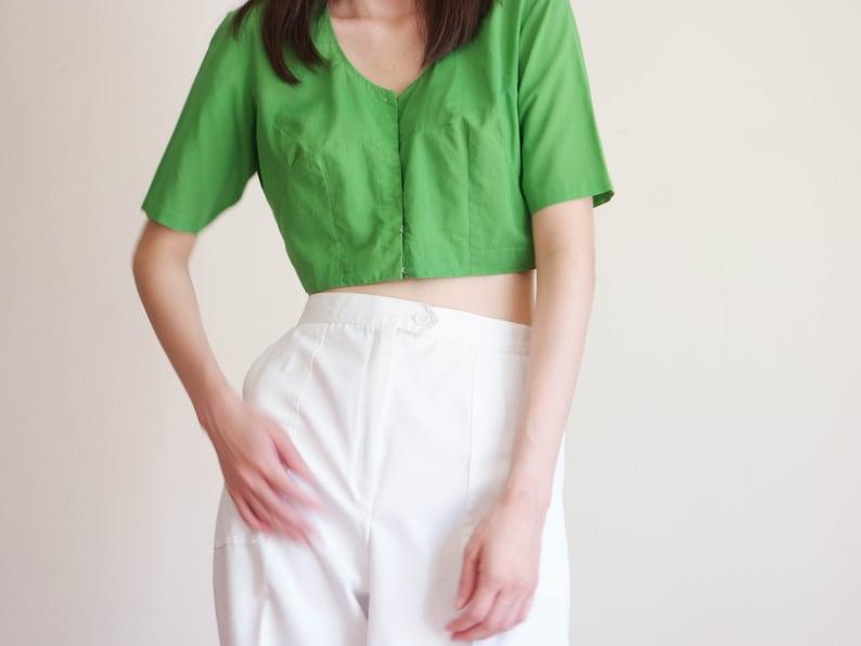 Vintage 1950s Green Crop Top  50s  Cotton Crop Top  Woven Cotton Crop Top  Green Summer Top  Small Top